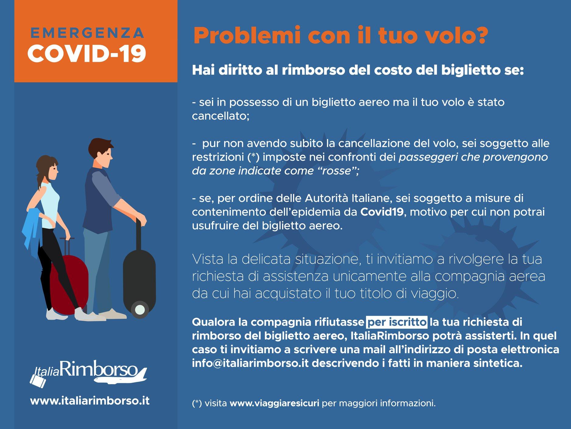 rimborso biglietto Coronavirus ItaliaRimborso